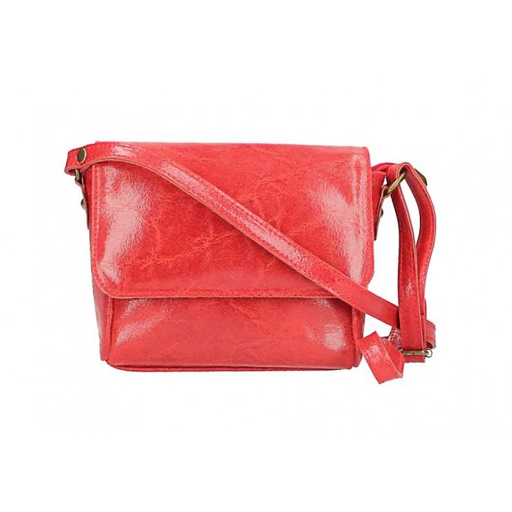 Kožená kabelka na rameno 584 červená