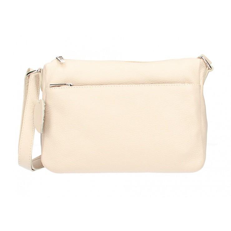 Kožená kabelka na rameno 598 béžová