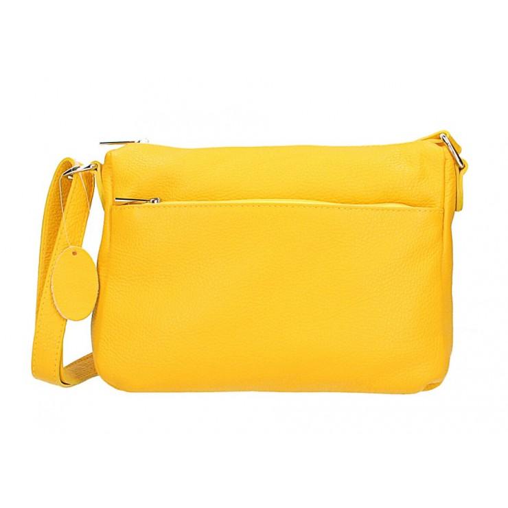 Kožená kabelka na rameno 598 žltá