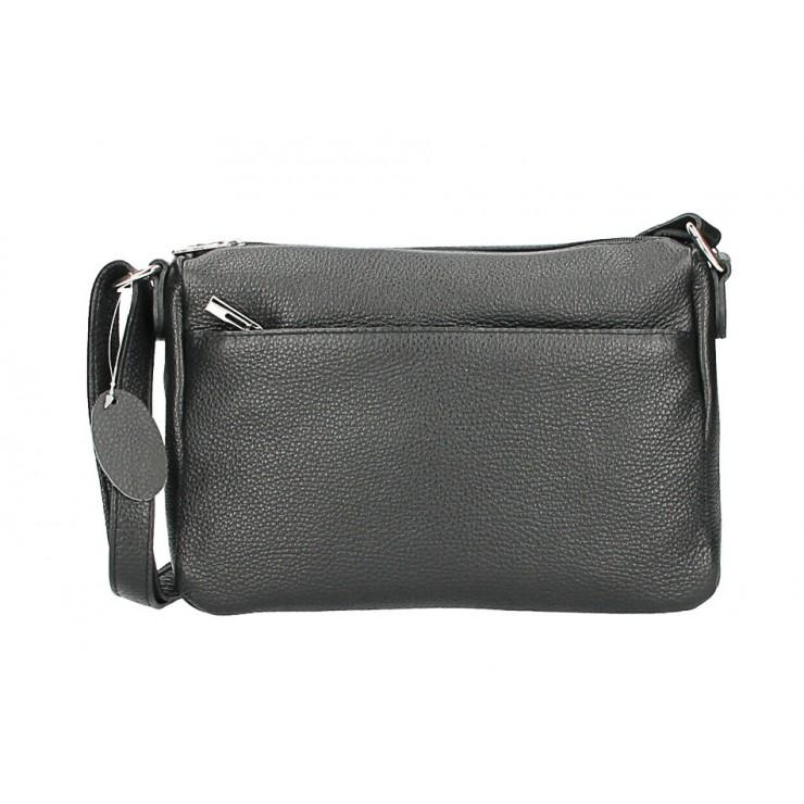 Kožená kabelka na rameno 598 čierna