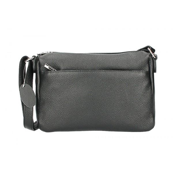 Kožená kabelka na rameno 598 čierna Čierna