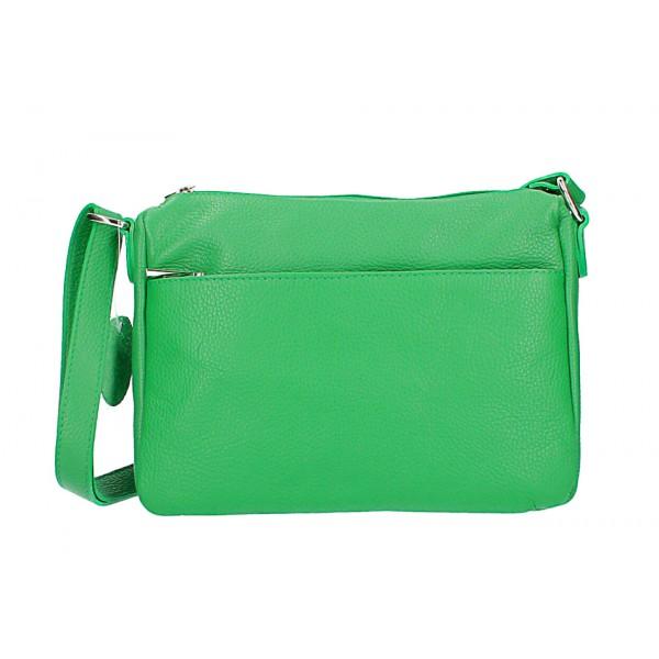 Kožená kabelka na rameno 598 zelená Zelená