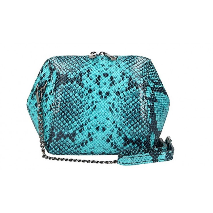 Woman Leather Handbag 446 turquoise