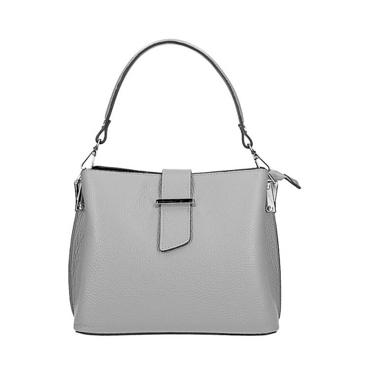 Kožená kabelka na rameno 599 šedá