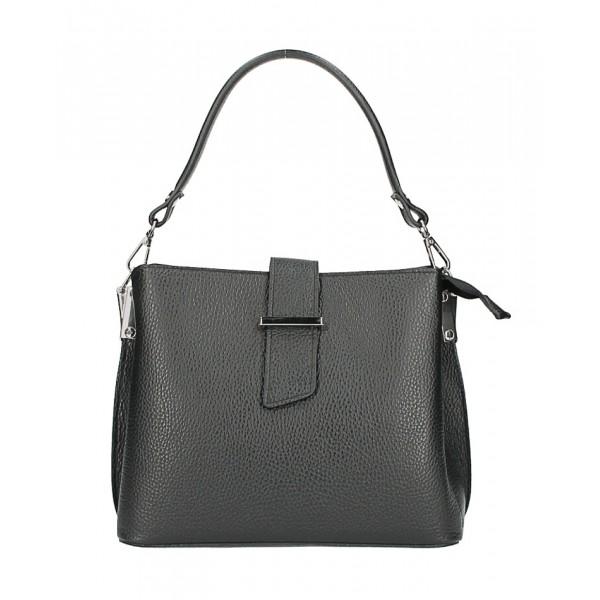Kožená kabelka na rameno 599 čierna Čierna