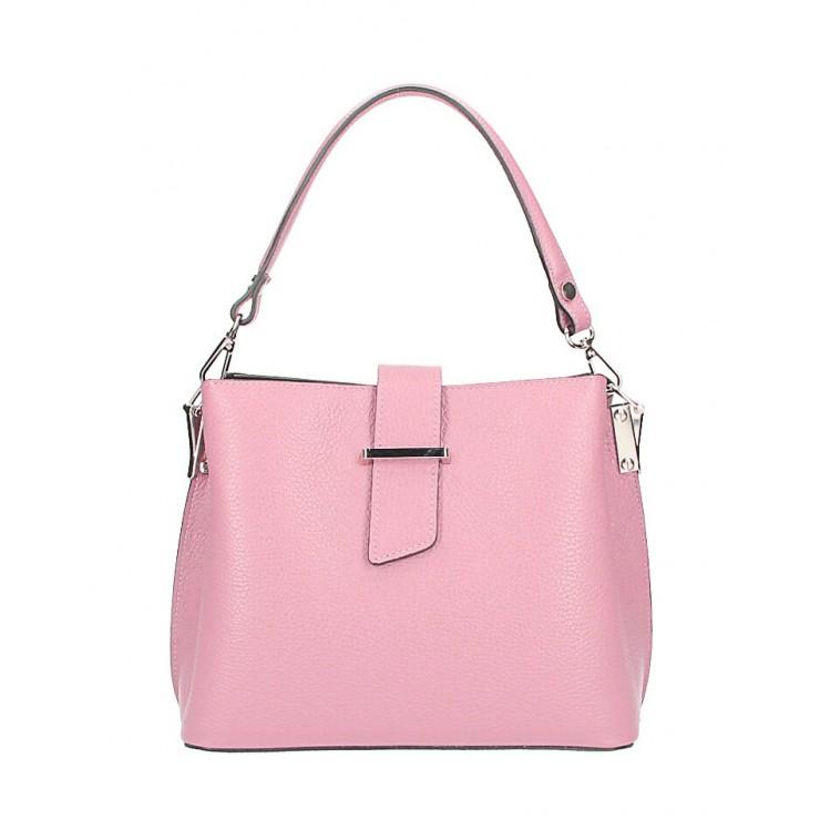 Kožená kabelka na rameno 599 ružová