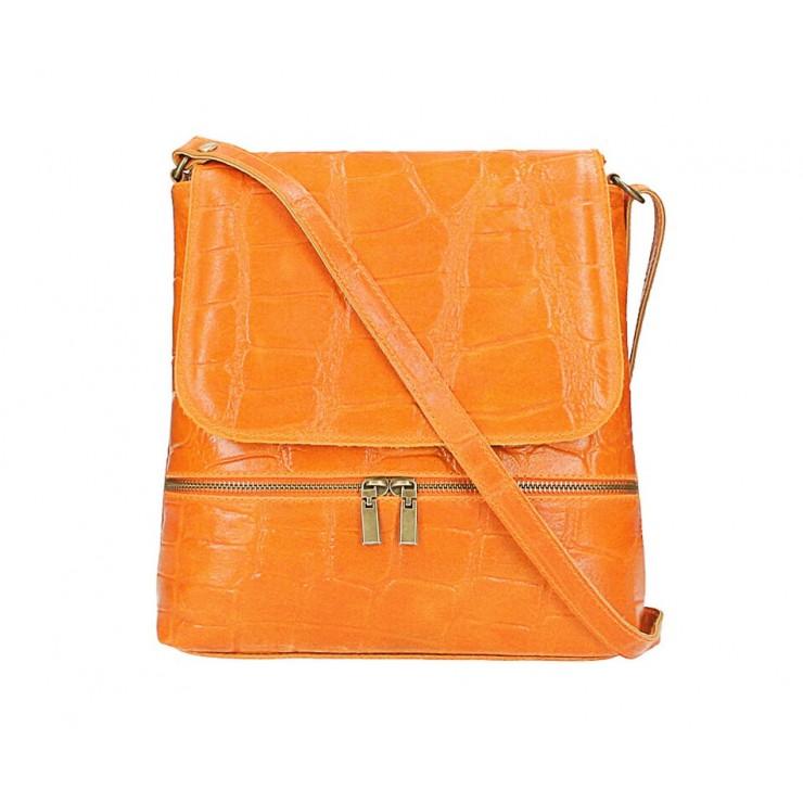Kožená kabelka na rameno 573 oranžová Made in Italy