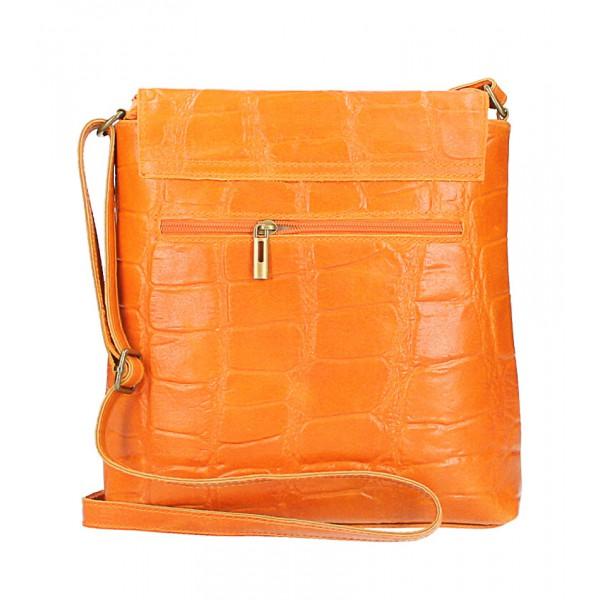 Kožená kabelka na rameno 573 oranžová Made in Italy Oranžová