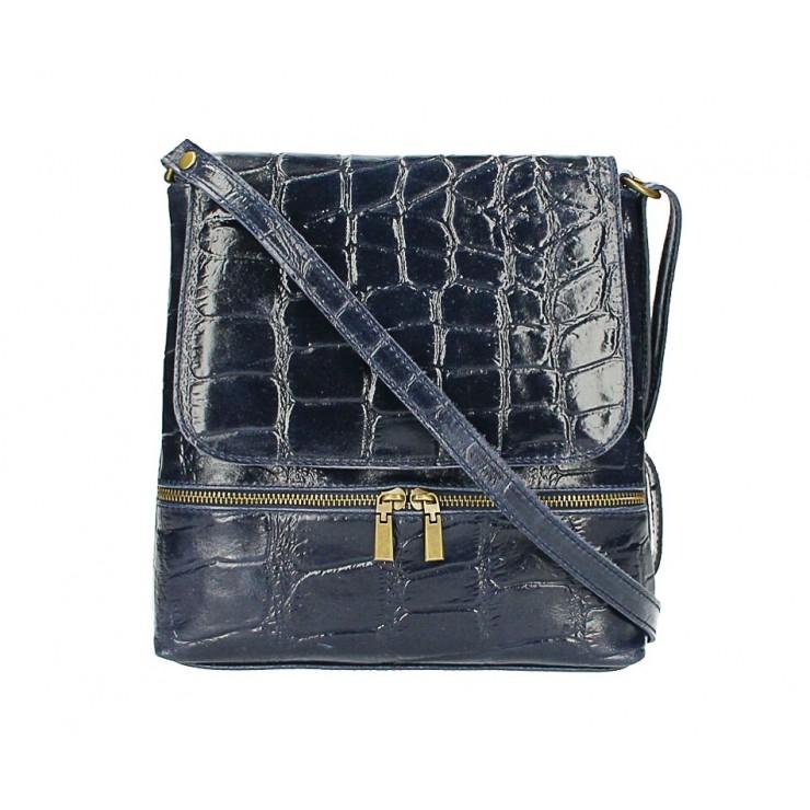 Kožená kabelka na rameno 573 tmavomodrá Made in Italy