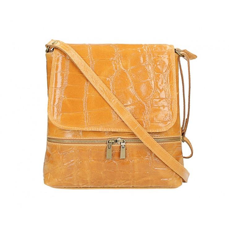Kožená kabelka na rameno 573 koňaková Made in Italy