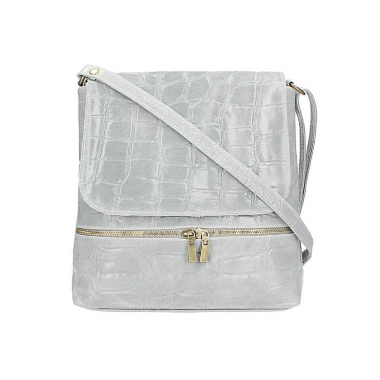 Kožená kabelka na rameno 573 šedá Made in Italy