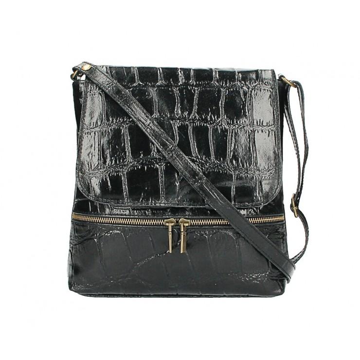 Kožená kabelka na rameno 573 čierna Made in Italy