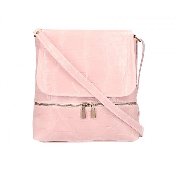 Kožená kabelka na rameno 573 ružová Made in Italy Ružová