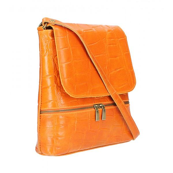 Kožená kabelka na rameno 573 šedohnedá Made in Italy Šedohnedá
