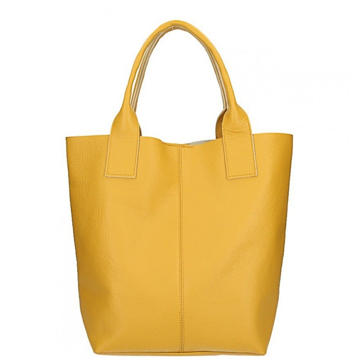Leather Maxi Bag 1109 mustard Made in Italy