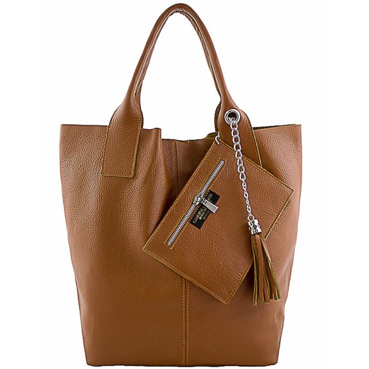 Leather Maxi Bag 1109 cognac Made in Italy