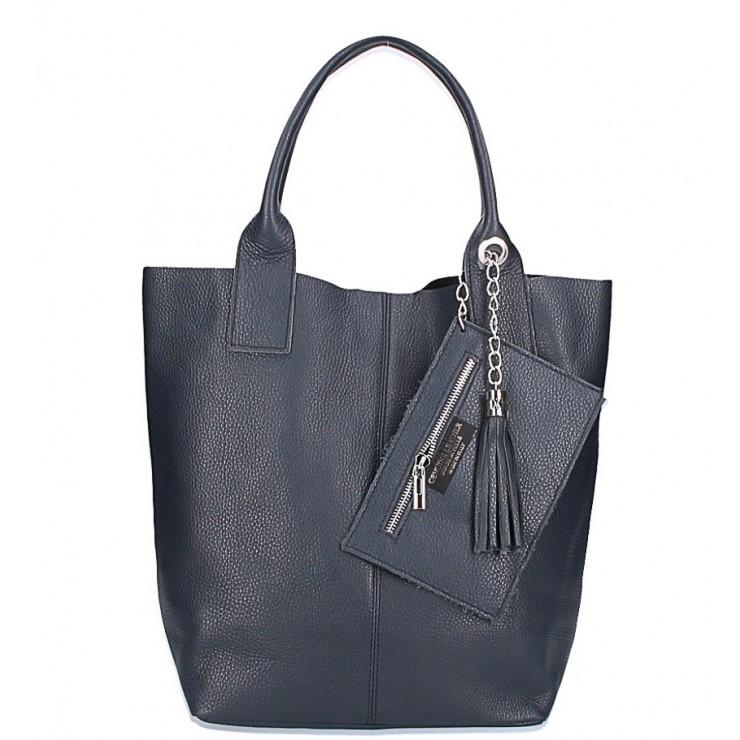 Kožená kabelka na rameno 1109 modrá Made in Italy