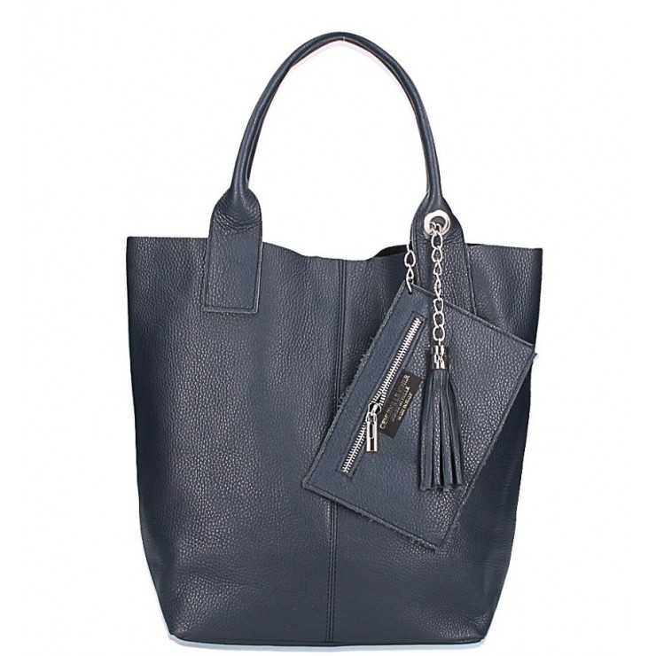 Leather Maxi Bag 1109 blue Made in Italy