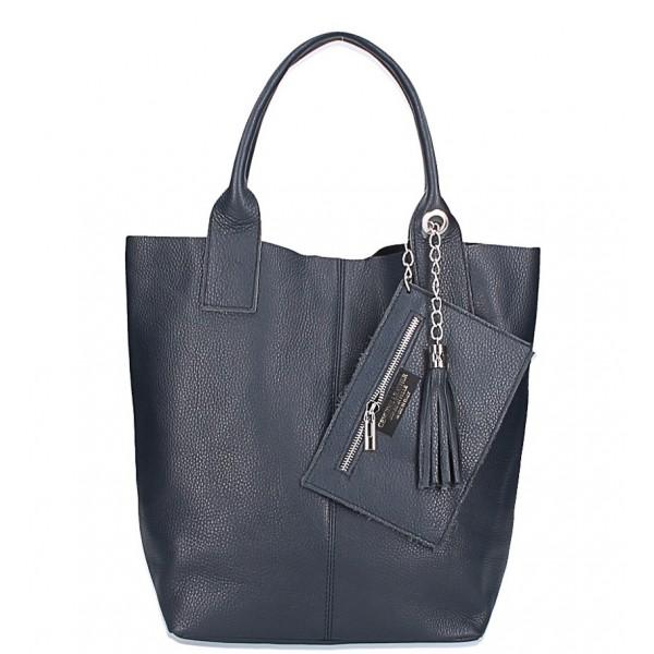 Kožená kabelka na rameno 1109 modrá Made in Italy Modrá