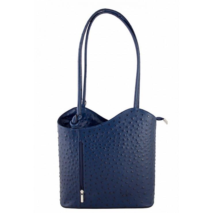 Kožená kabelka na rameno/batoh 1260 modrá Made in Italy