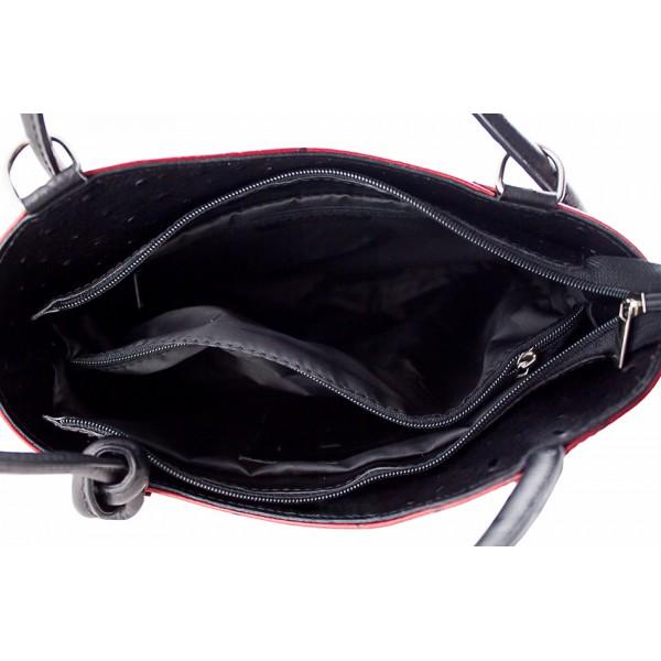 Kožená kabelka na rameno/batoh 1260 čierna Made in Italy Čierna