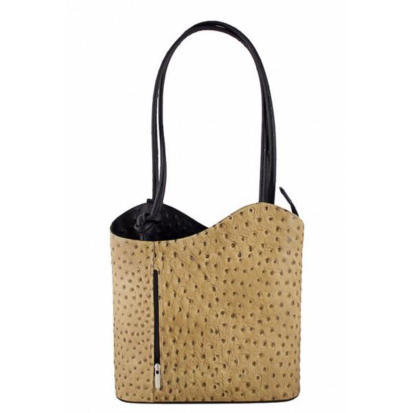 Kožená kabelka na rameno/batoh 1260 šedohnedá+čierna Made in Italy Šedohnedá