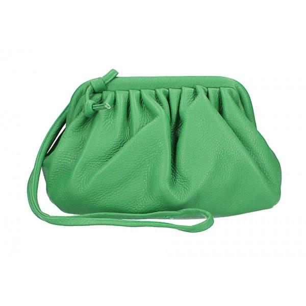 Kožená kabelka na rameno 574 zelená Made in Italy Zelená