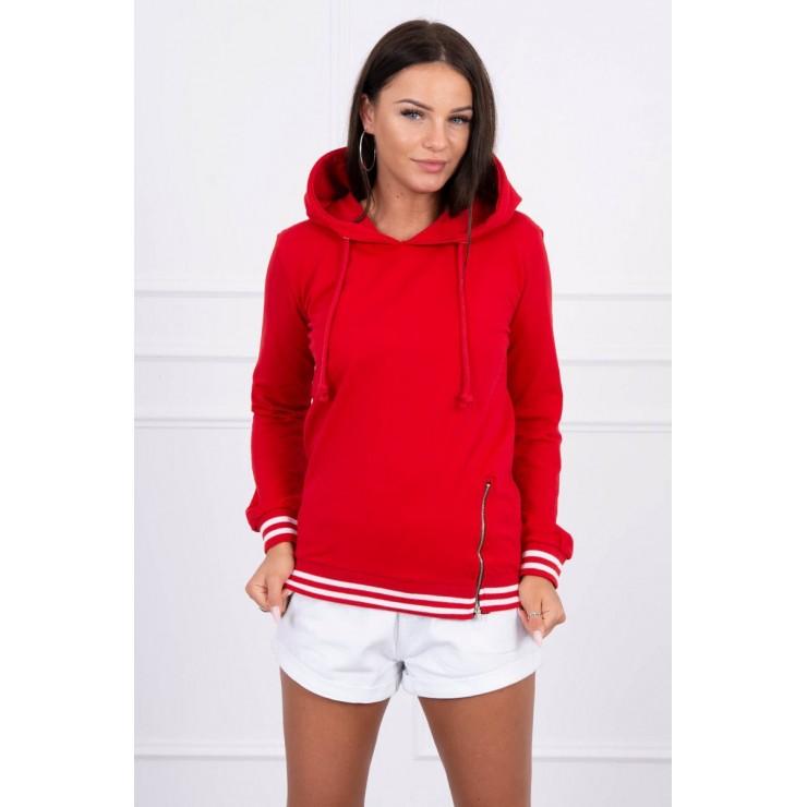 Women's sweatshirt with decorative zipper MI8931 red