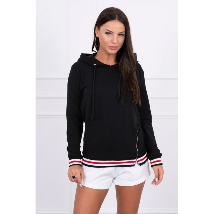 Women's sweatshirt with decorative zipper MI8931 black