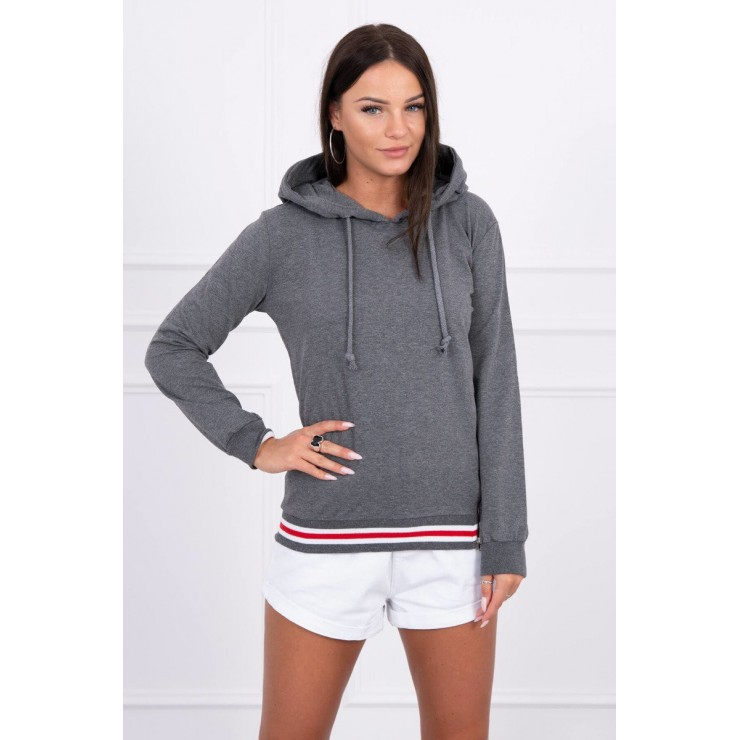 Women's sweatshirt with decorative zipper MI8931 graphite