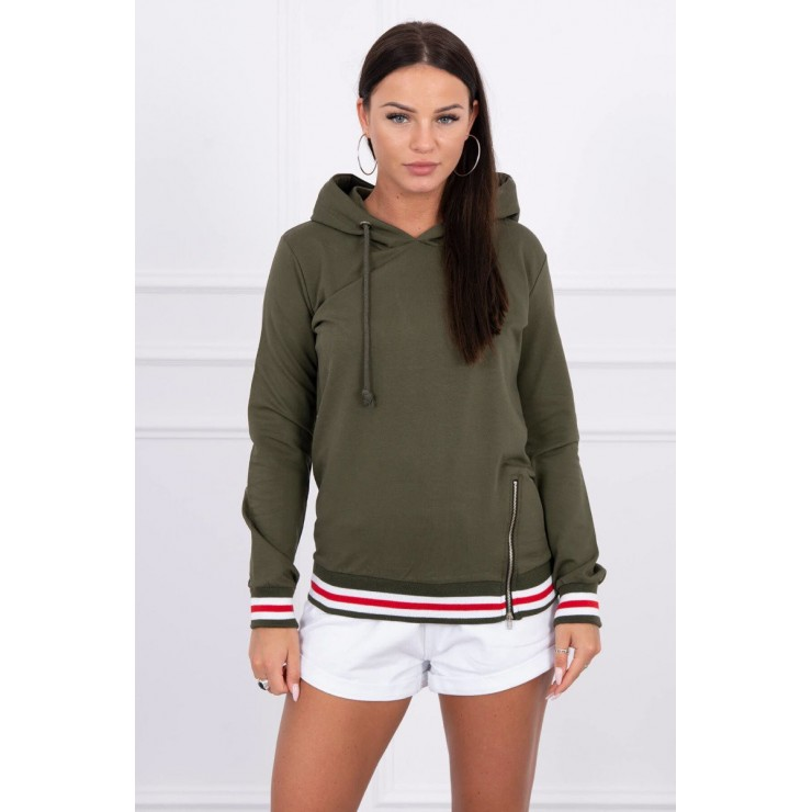 Women's sweatshirt with decorative zipper MI8931 green