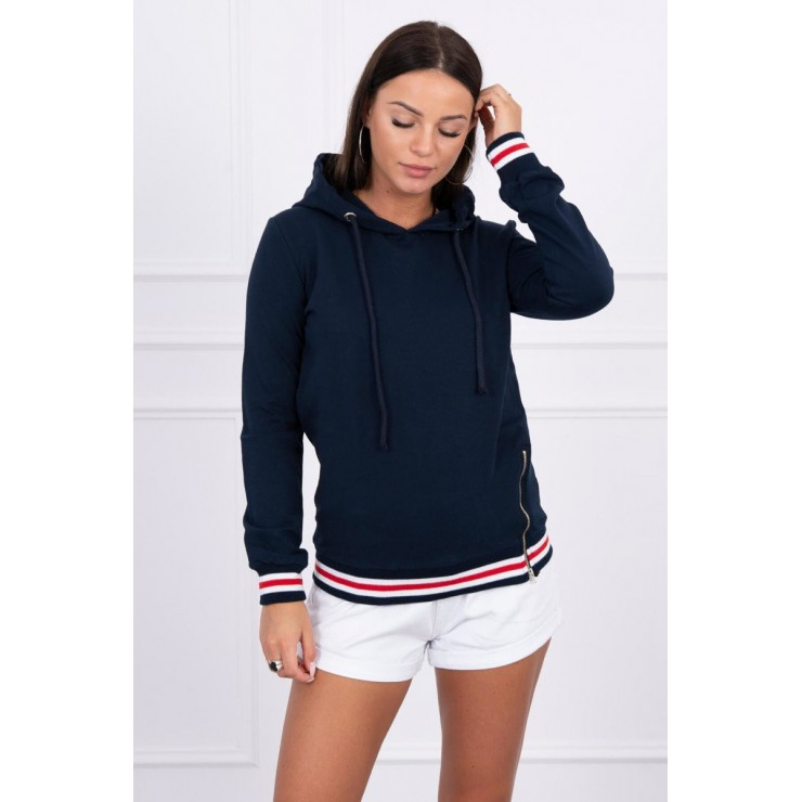 Women's sweatshirt with decorative zipper MI8931 dark blue