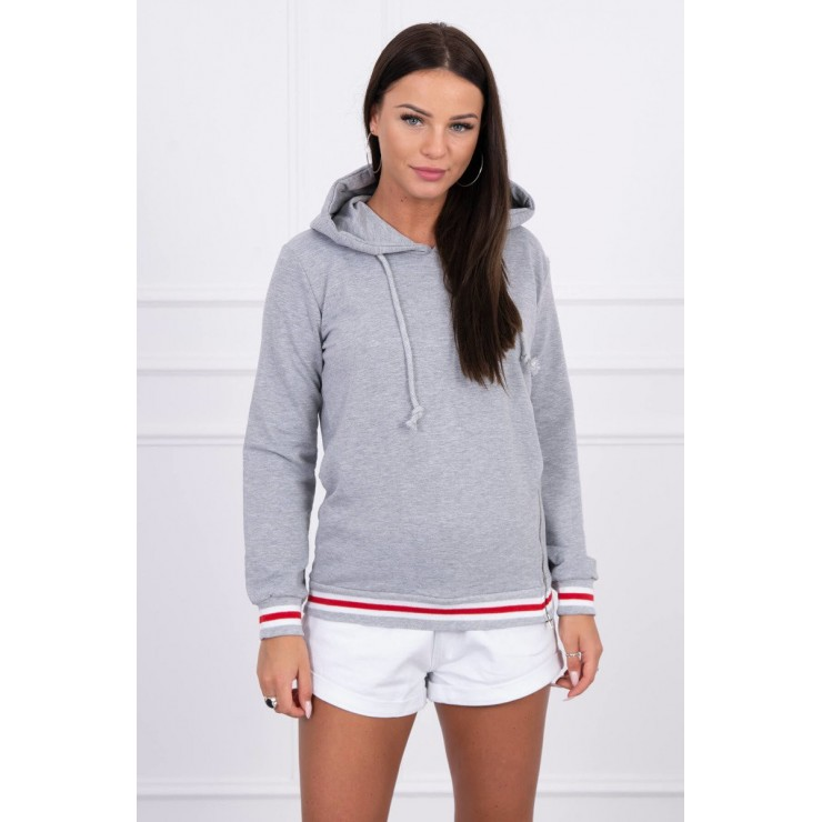 Women's sweatshirt with decorative zipper MI8931 gray