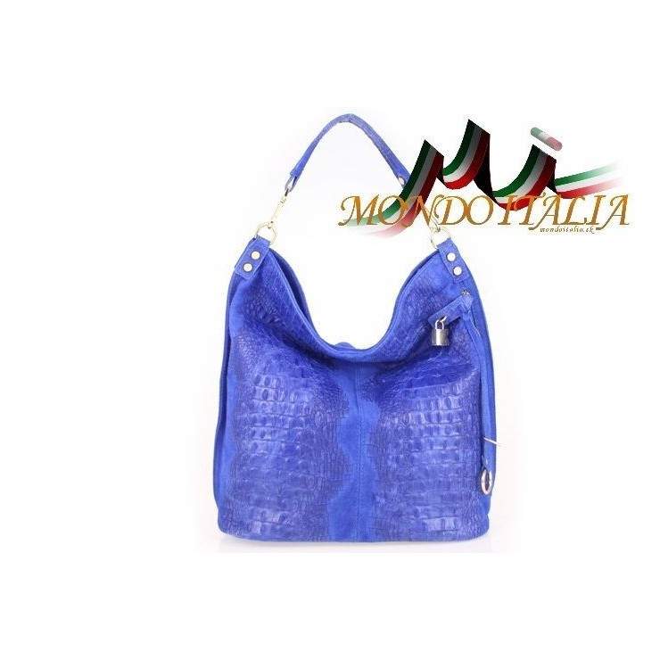 Genuine Leather Handbag Crocodile stamp 1311 bluette