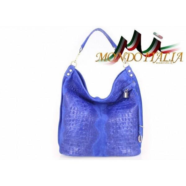 Kožená kabelka potlač krokodýl 1311 azurovo modrá Modrá