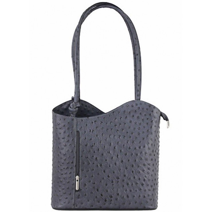Leather shoulder bag/Backpack 1260 dark gray Made in Italy