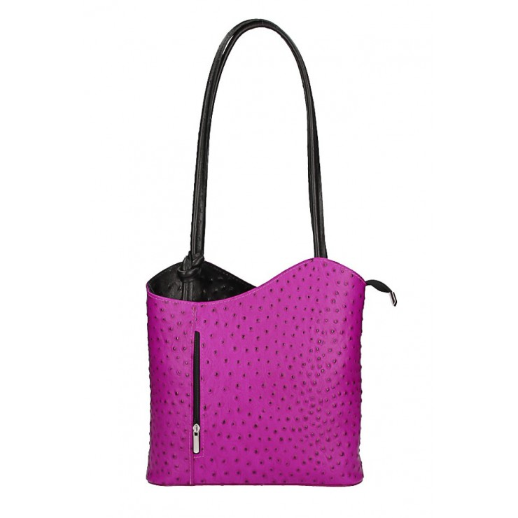 Leather shoulder bag/Backpack 1260 fuxia Made in Italy