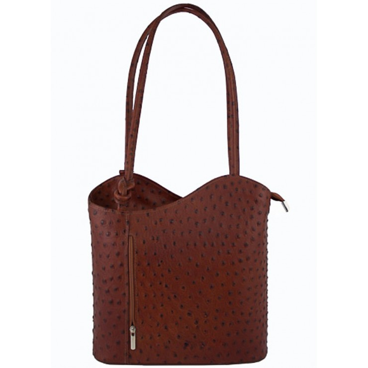 Leather shoulder bag/Backpack 1260 brown Made in Italy