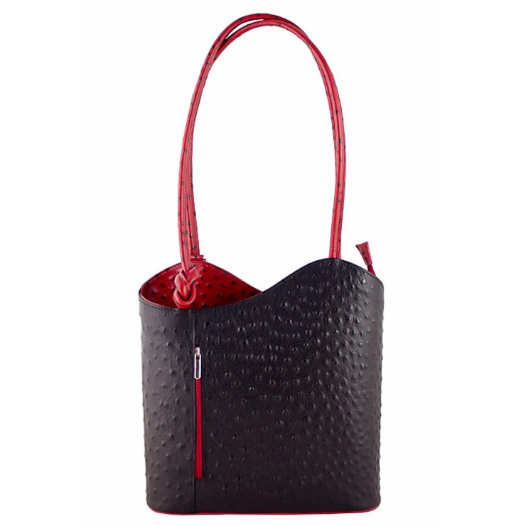 Leather shoulder bag/Backpack 1260 black+red Made in Italy