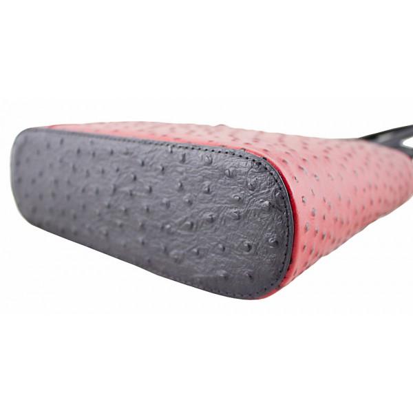 Kožená kabelka na rameno/batoh 1260 čierna+červená Made in Italy Čierna