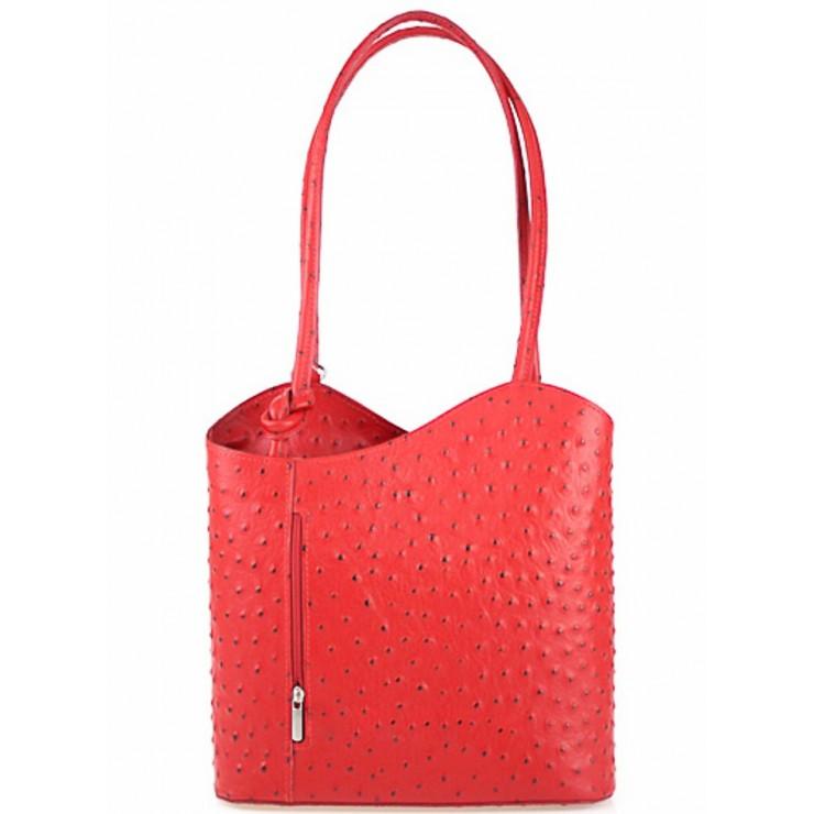 Kožená kabelka na rameno/batoh 1260 svetločervená Made in Italy