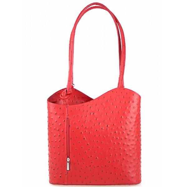 Kožená kabelka na rameno/batoh 1260 červená Made in Italy Červená