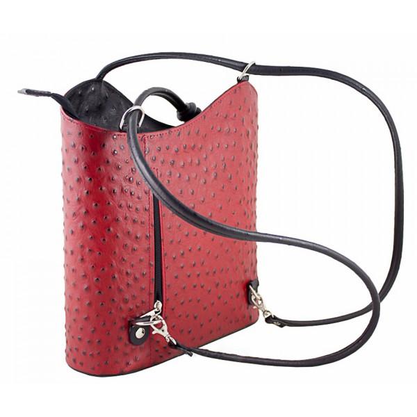 Kožená kabelka na rameno/batoh 1260 svetločervená Made in Italy Červená
