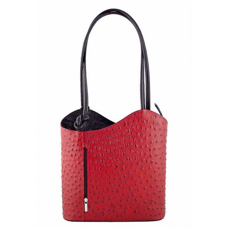 Kožená kabelka na rameno/batoh 1260 tmavočervená Made in Italy