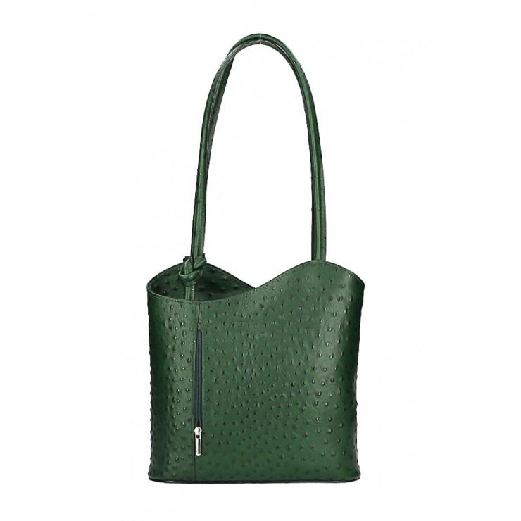 Leather shoulder bag/Backpack 1260 dark green Made in Italy