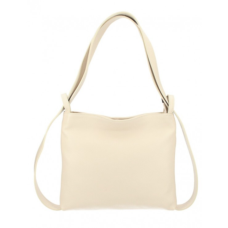 Kožená kabelka na rameno/batoh 575 béžová Made in Italy