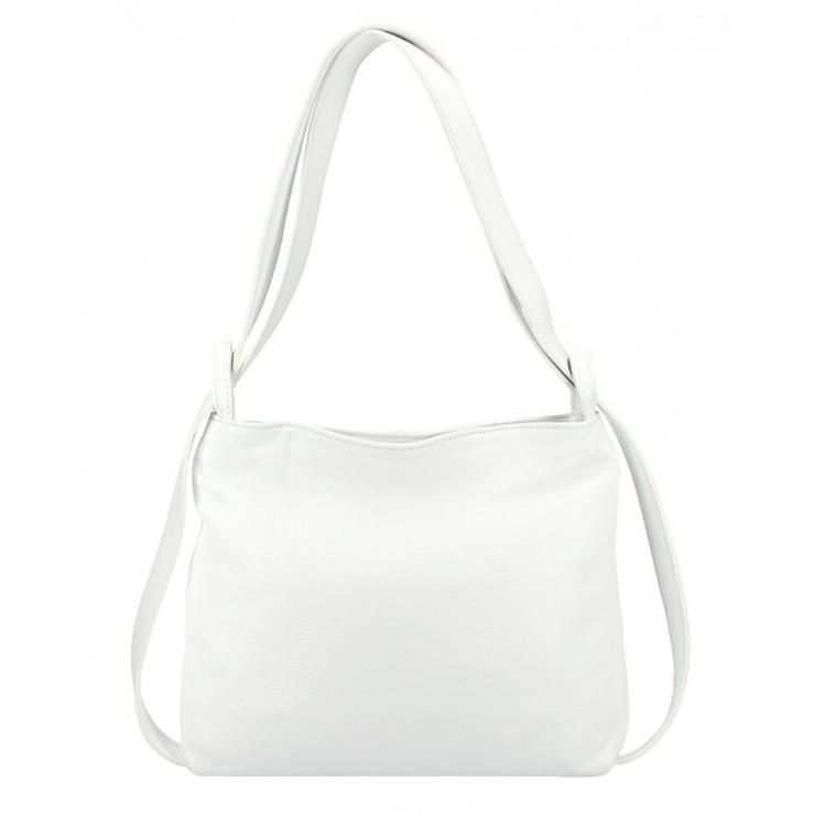 Kožená kabelka na rameno/batoh 575 biela Made in Italy