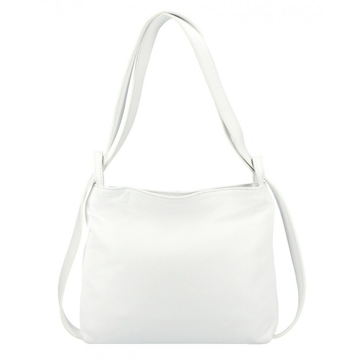 Leather shoulder bag/Backpack 575 white Made in Italy