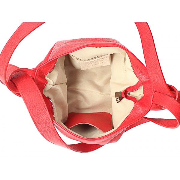 Kožená kabelka na rameno/batoh 575 biela Made in Italy Biela