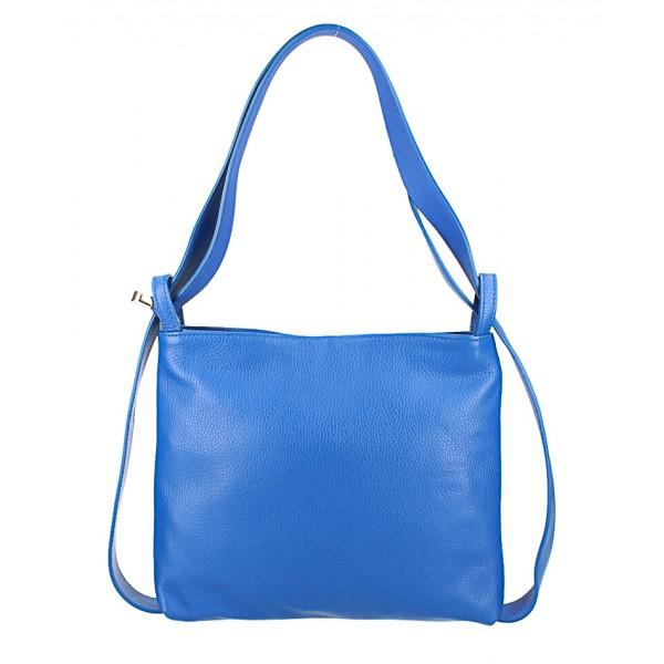 Kožená kabelka na rameno/batoh 575 modrá Made in Italy Modrá